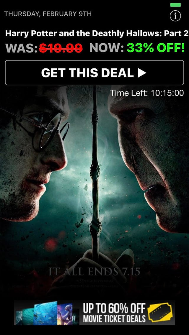 Harry Potter Movie Discount