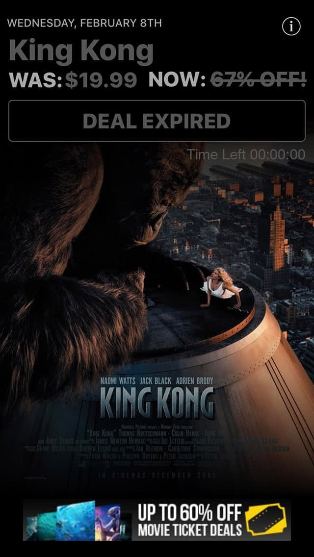 Movie Deals Daily King Kong Movie Deal