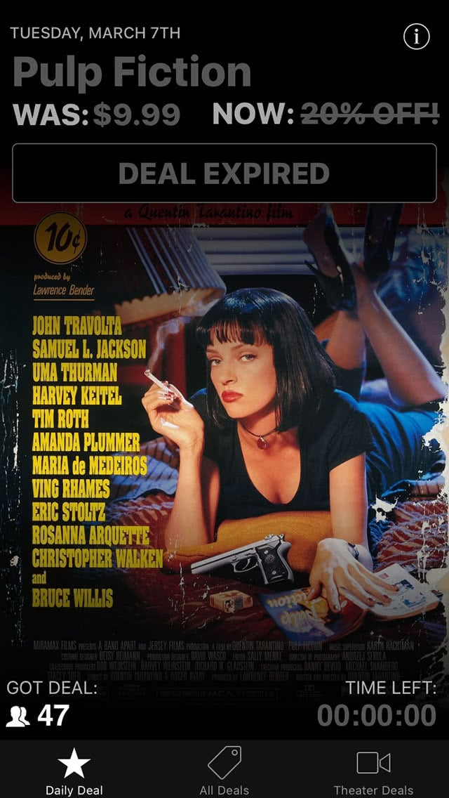 Movie Deals Daily Pulp Fiction Deal